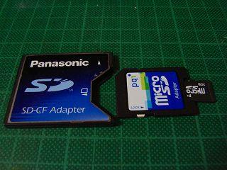 PQI MicroSDをアダプタ介してCFに変換。